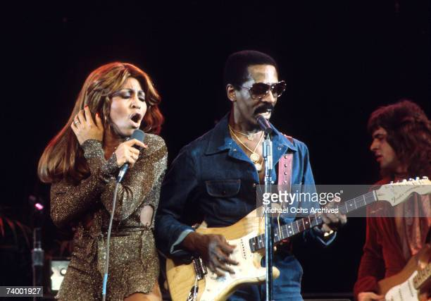 Ike and Tina Turner performing with the Ike And Tina Turner Revue on the American TV music show, 'Don Kirshner's Rock Concert', recorded in Los...