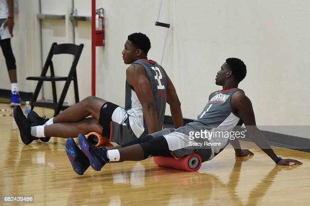 Ike Anigbogu and Jawun Evans warm up during Day Two of the NBA Draft Combine at Quest MultiSport Complex on May 12 2017 in Chicago Illinois NOTE TO...