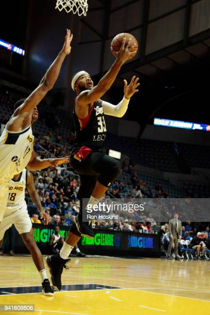 Ike Anigbogu of the Fort Wayne Mad Ants battles Jeremy Hollowell of the Erie Bayhawks in the 2018 Eastern Conference semifinals of the NBA G League...