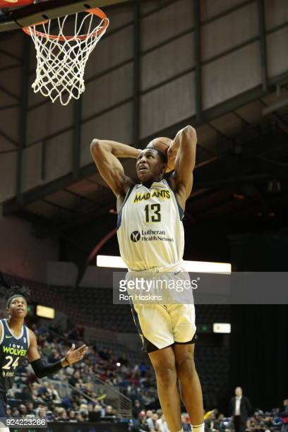Ike Anigbogu of the Fort Wayne Mad Ants throws it down on the Iowa Wolves on February 25 2018 at Memorial Coliseum in Fort Wayne Indiana NOTE TO USER...