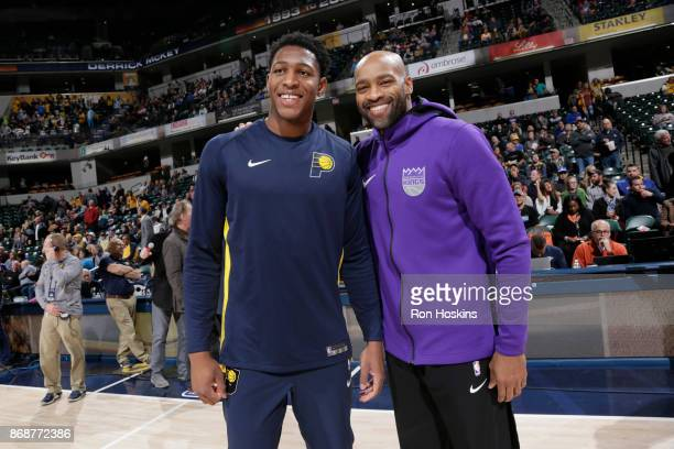 Ike Anigbogu of the Indiana Pacers and Vince Carter of the Sacramento Kings pose for a portrait before the game on October 31 2017 at Bankers Life...