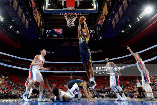 Ike Anigbogu of the Indiana Pacers goes to the basket against the Detroit Pistons on October 9 2017 at Little Caesars Arena in Detroit Michigan NOTE...