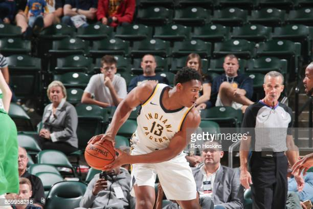 Ike Anigbogu of the Indiana Pacers handles the ball during the preseason game against the Maccabi Haifa on October 10 2017 at Bankers Life Fieldhouse...