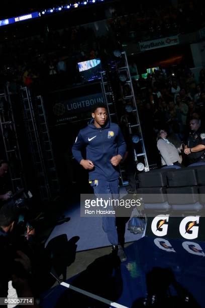 Ike Anigbogu of the Indiana Pacers is introduced before the game against the Brooklyn Nets on October 18 2017 at Bankers Life Fieldhouse in...