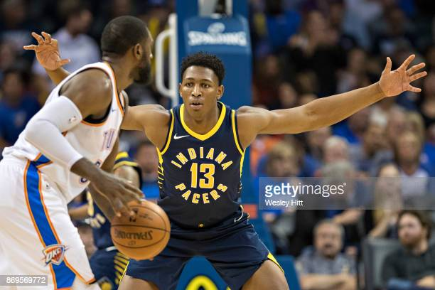 Ike Anigbogu of the Indiana Pacers plays defense during a game against the Oklahoma City Thunder at the Chesapeake Energy Arena on October 25, 2017...