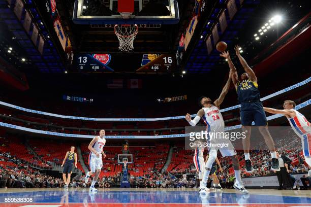 Ike Anigbogu of the Indiana Pacers shoots the ball against the Detroit Pistons on October 9 2017 at Little Caesars Arena in Detroit Michigan NOTE TO...