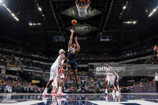 Ike Anigbogu of the Indiana Pacers shoots the ball against the Houston Rockets on November 12 2017 at Bankers Life Fieldhouse in Indianapolis Indiana...