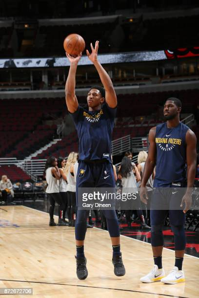 Ike Anigbogu of the Indiana Pacers shoots the ball during warmups before the game against the Chicago Bulls on November 10 2017 at the United Center...