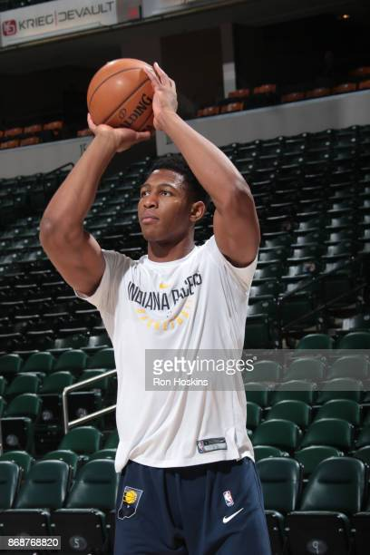 Ike Anigbogu of the Indiana Pacers warms up before the game against the Sacramento Kings on October 31 2017 at Bankers Life Fieldhouse in...