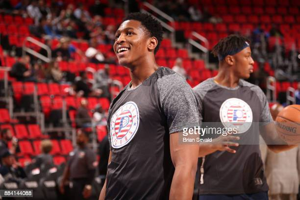 Ike Anigbogu of the Indiana Pacers warms up before the game against the Detroit Pistons on November 8 2017 at Little Caesars Arena in Detroit...