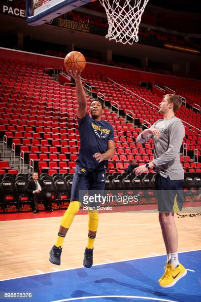 Ike Anigbogu of the Indiana Pacers warms up prior to the game against the Detroit Pistons on December 26 2017 at Little Caesars Arena in Detroit...