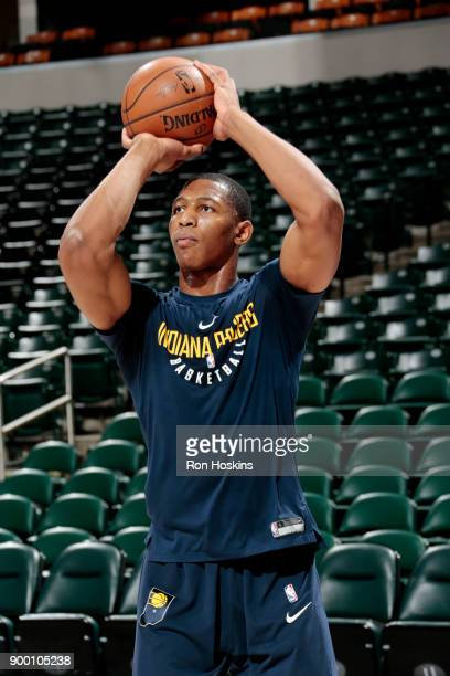 Ike Anigbogu of the Indiana Pacers warms up prior to the game against the Minnesota Timberwolves on December 31 2017 at Bankers Life Fieldhouse in...