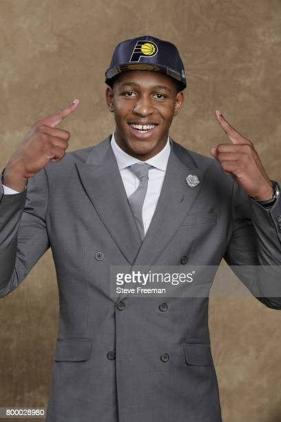 Ike Anigbogu poses for a portrait after being selected fortyseventh overall by the Indiana Pacers during the 2017 NBA Draft on June 22 2017 at...