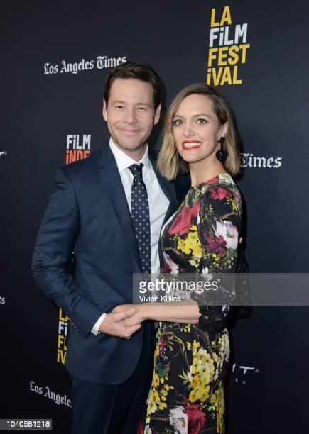Ike Barinholtz and Erica Hanson attend LA Film Festival World Premiere Gala Screening Of THE OATH on September 25 2018 in Los Angeles California