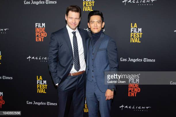 Ike Barinholtz and John Cho arrive at the 2018 LA Film Festival Gala Screening of 'The Oath' at ArcLight Hollywood on September 25 2018 in Hollywood...