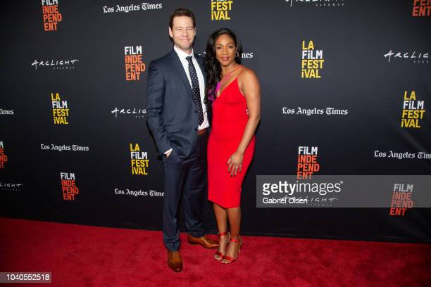 Ike Barinholtz and Tiffany Haddish arrive at the 2018 LA Film Festival Gala Screening of 'The Oath' at ArcLight Hollywood on September 25 2018 in...