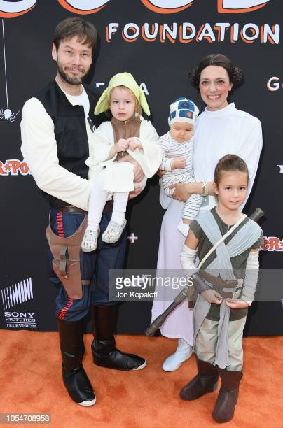 Ike Barinholtz Erica Hanson and children attend Jessica and Jerry Seinfeld's GOOD Halloween Bash at Sony Pictures Studios on October 28 2018 in...
