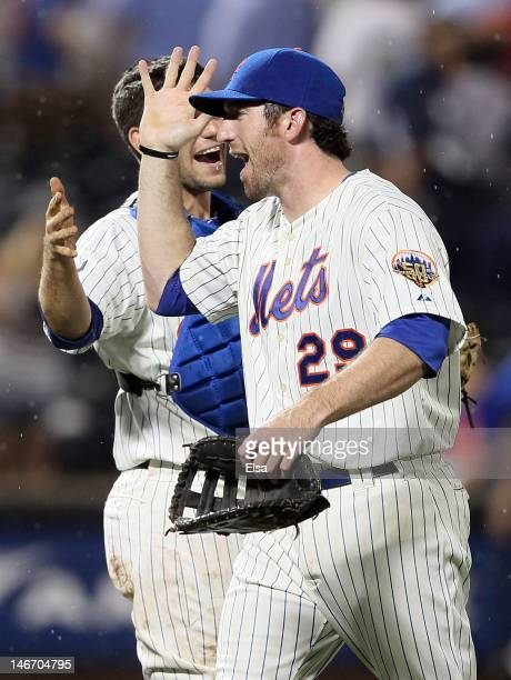 Ike Davis of the New York Mets celebrates the win over the New York Yankees on June 22 2012 during interleague play at Citi Field in the Flushing...