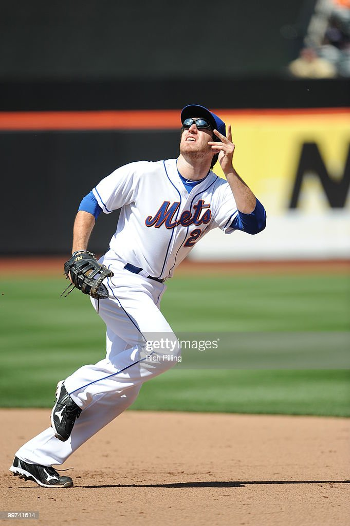 Ike Davis of the New York Mets fields during the extra inning game against the San Francisco Giants at Citi Field in Flushing, New York on May 8, 2010. The Mets defeated the Gaints 5-4 in 11 innings.