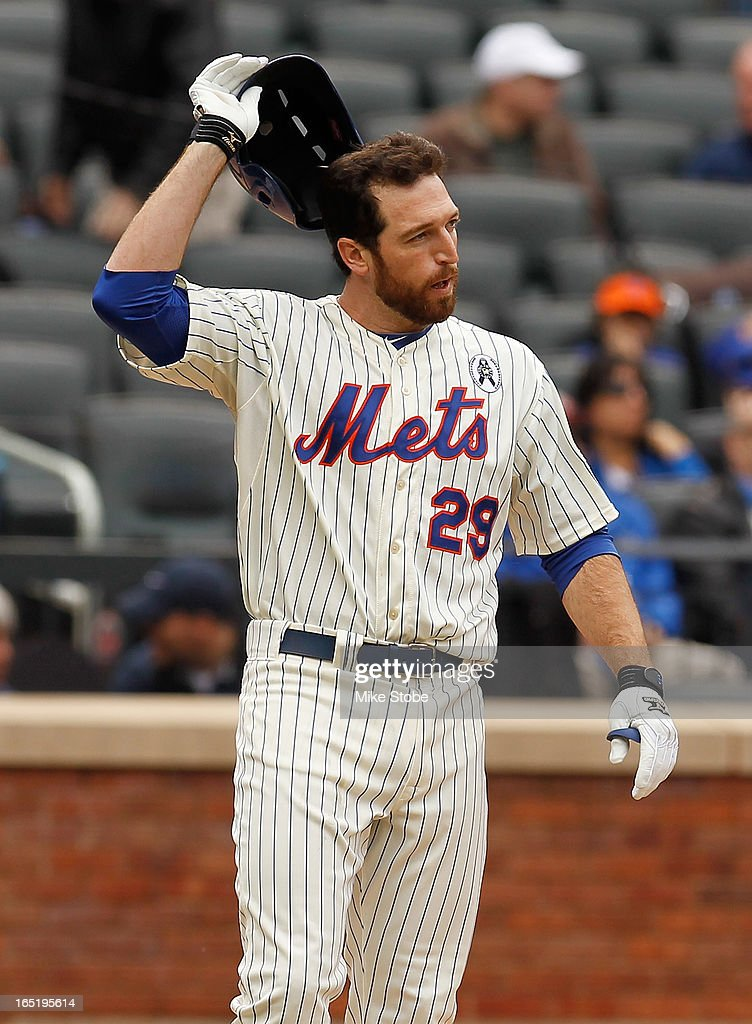 Ike Davis #29 of the New York Mets looks on after striking out in the seventh inning against the San Diego Padres on opening day at Citi Field on April 1, 2013 in the Flushing neighborhood of the Queens borough of New York City.