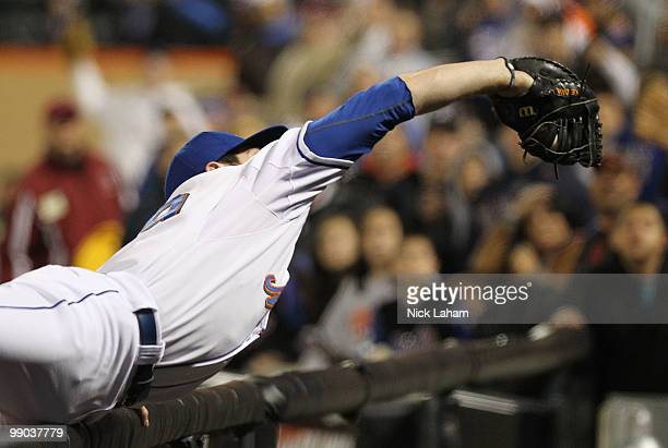Ike Davis of the New York Mets makes the last out of the game against the Washington Nationals at Citi Field on May 11 2010 in the Flushing...