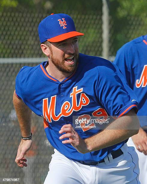 Ike Davis of the New York Mets works out prior to the game against the Atlanta Braves during a spring training game at Tradition Field on March 20...