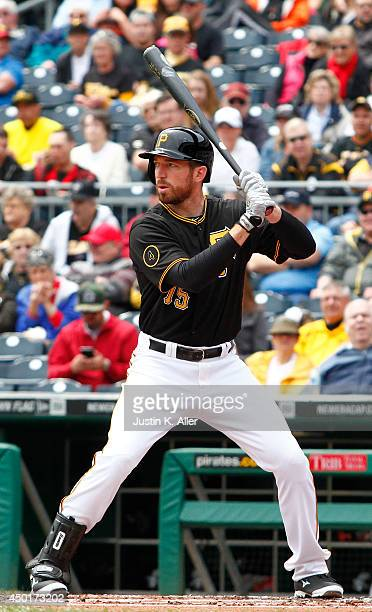 Ike Davis of the Pittsburgh Pirates bats against the San Francisco Giants during the game at PNC Park on May 7 2014 in Pittsburgh Pennsylvania