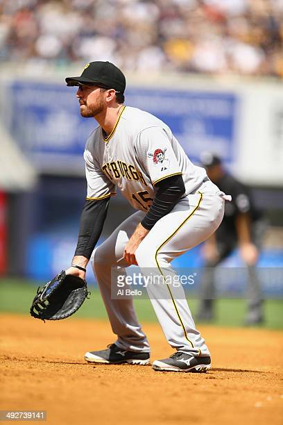 Ike Davis of the Pittsburgh Pirates in action against the New York Yankees during their game at Yankee Stadium on May 18 2014 in the Bronx borough of...