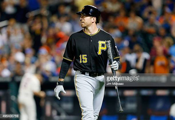 Ike Davis of the Pittsburgh Pirates in action against the New York Mets at Citi Field on May 27 2014 in the Flushing neighborhood of the Queens...