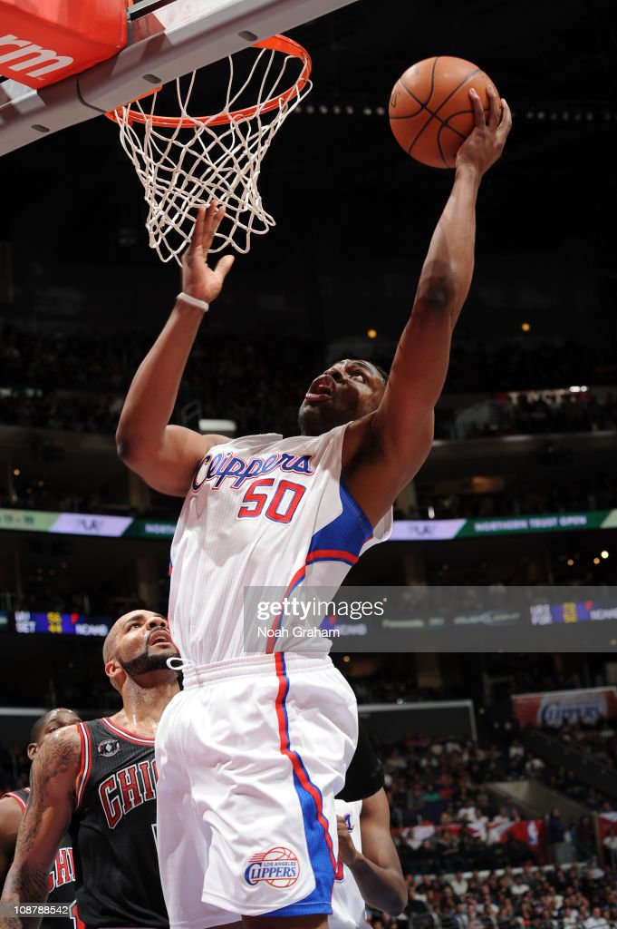 Ike Diogu #50 of the Los Angeles Clippers goes up for a shot against the Chicago Bulls at Staples Center on February 2, 2011 in Los Angeles, California.