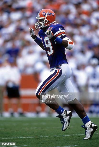 Ike Hilliard of the Florida Gators celebrates a touchdown against the Kentucky Wildcats on September 28 1996 at Ben Hill Griffin Stadium in...