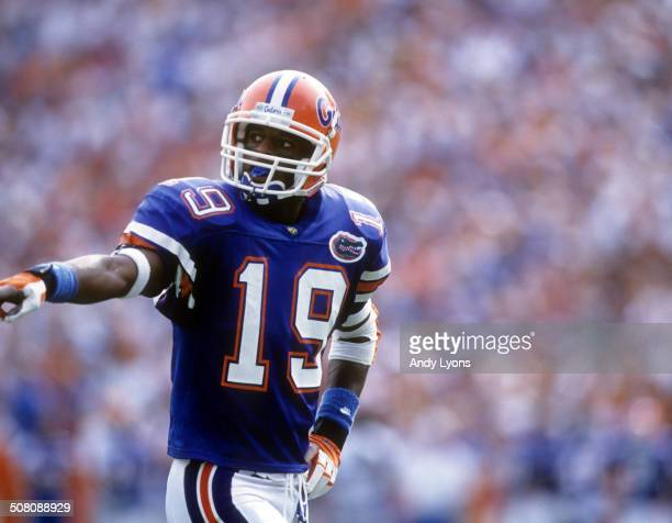 Ike Hilliard of the Florida Gators lines up against the Kentucky Wildcats on September 28 1996 at Ben Hill Griffin Stadium in Gainesville Florida The...