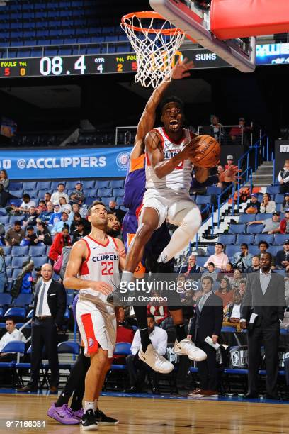 Ike Iroegbu of the Agua Caliente Clippers drives to the basket against the Northern Arizona Suns on February 11 2018 at Citizens Business Bank Arena...