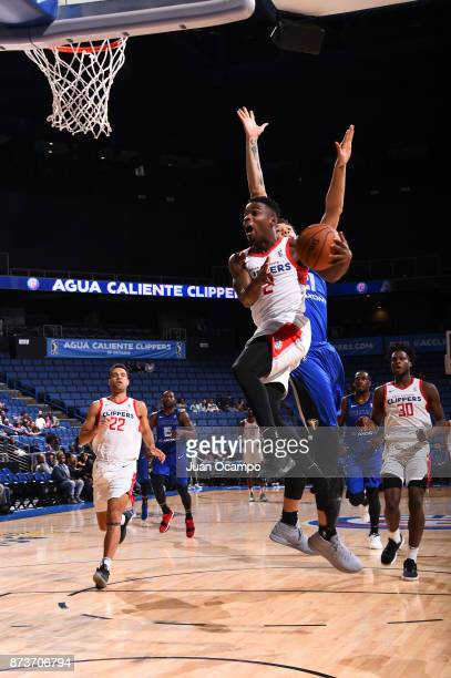 Ike Iroegbu of the Agua Caliente Clippers goes for the dunk against the Texas Legends in Ontario on November 10 2017 at Citizens Business Bank Arena...