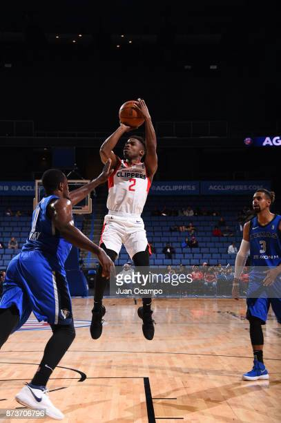 Ike Iroegbu of the Agua Caliente Clippers goes for the shot against the Texas Legends in Ontario on November 10 2017 at Citizens Business Bank Arena...