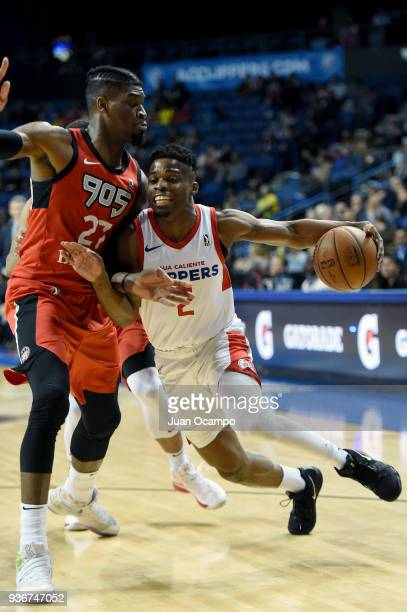 Ike Iroegbu of the Agua Caliente Clippers handles the ball against the Raptors 905 on March 22 2018 at the Citizens Business Bank Arena in Ontario...