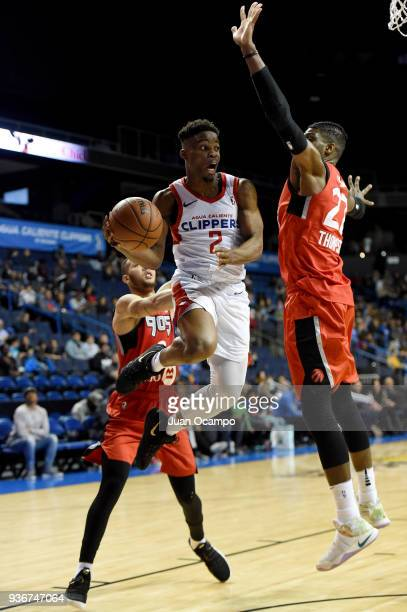 Ike Iroegbu of the Agua Caliente Clippers looks to pass against the Raptors 905 on March 22 2018 at the Citizens Business Bank Arena in Ontario...