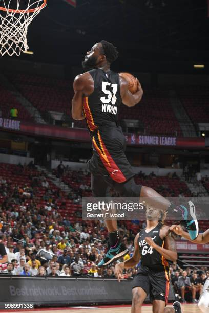 Ike Nwamu of the Miami Heat dunks the ball against the Boston Celtics during the 2018 Las Vegas Summer League on July 14 2018 at the Thomas Mack...