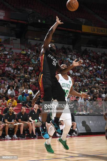 Ike Nwamu of the Miami Heat shoots the ball against the Boston Celtics during the 2018 Las Vegas Summer League on July 14 2018 at the Thomas Mack...