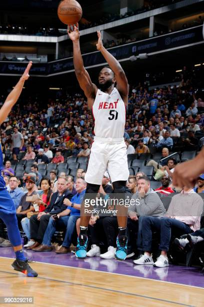 Ike Nwamu of the Miami Heat shoots the ball against the Golden State Warriors during the 2018 California Classic on July 2 2018 at Golden 1 Center in...