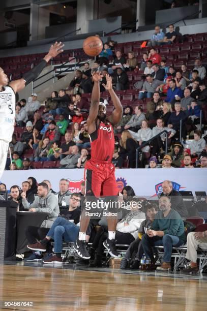 Ike Nwamu of the Sioux Falls Skyforce shoots the ball during the NBA GLeague Showcase Game 22 between the Sioux Falls Skyforce and the Raptors 905 on...