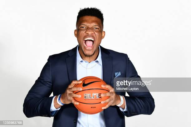 Ike Obiagu of the Seton Hall Pirates poses for a photo during the Big East Media Day at Madison Square Garden on October 19, 2021 in New York City.