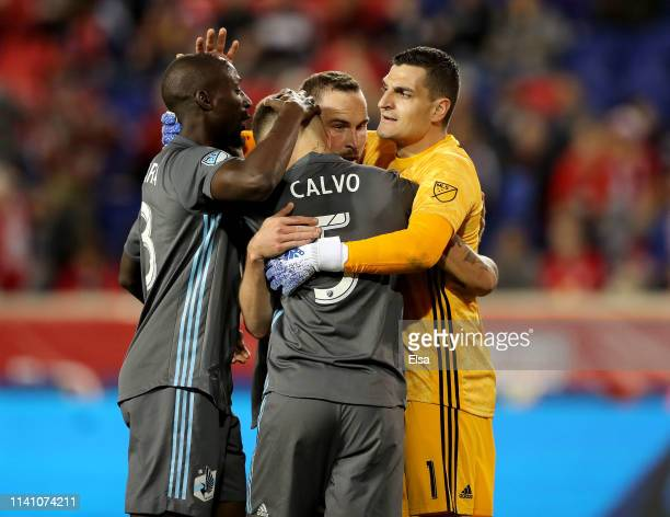 Ike Opara, Brent Kallman,Francisco Calvo and Vito Mannone of Minnesota United celebrate the win over the New York Red Bulls at Red Bull Arena on...