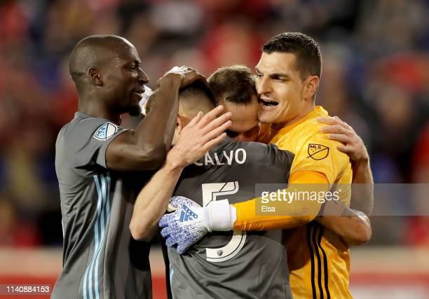 Ike OparaBrent KallmanFnracisco Calvo and Vito Mannone of Minnesota United celebrate the win over the New York Red Bulls at Red Bull Arena on April...