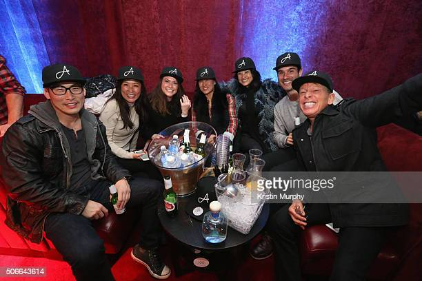 Ike Pyun Mimi Kim Allison Shafii Jennifer Jung Roberta Kung Amir Shafii and Kenny Griswold attend the Ainsworth Game Watch Party Presented By Element...