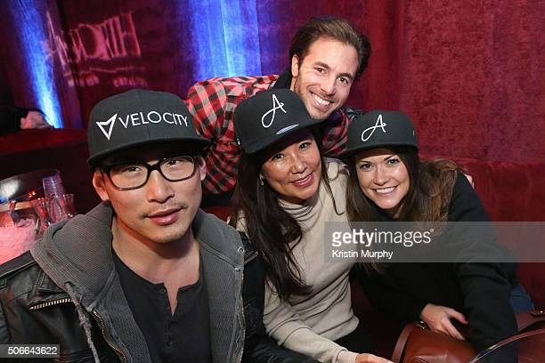 Ike Pyun Mimi Kim and Allison Shafii attend the Ainsworth Game Watch Party Presented By Element Electronics on January 24 2016 in Park City Utah