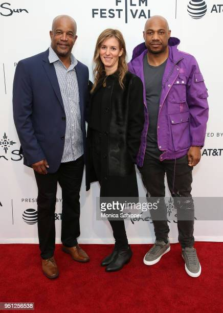 Ike Randolph Madeleine Sackler and Kareem Biggs Burke attend the screening of It's A Hard Truth Ain't It during the 2018 Tribeca Film Festival at SVA...