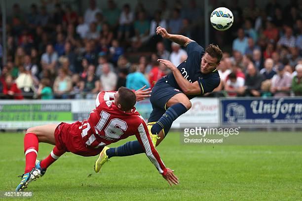 Ike Schrijnemakers of Hoensbroek blocks a shot of Billy Sharp of Southampton during the pre season friendly match between EHC Hoensbroek and...