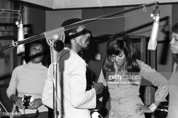 Ike Turner and Tina Turner recording at their studio Bolic Sound with The Ikettes on March 5 1972 in Los Angeles Califonia