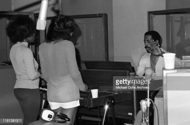 Ike Turner recording at their studio Bolic Sound with Tina Turner The Ikettes on March 5 1972 in Los Angeles Califonia